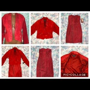 2 piece vintage red leather dress and jacket set M